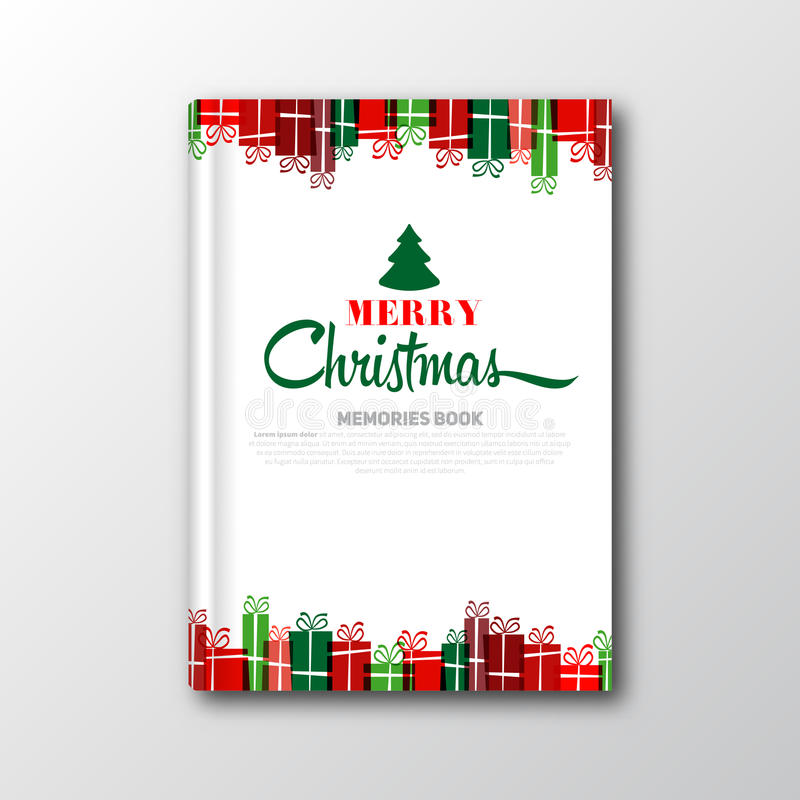 Plantilla de la cubierta o del aviador de libro de la Navidad ilustración del vector