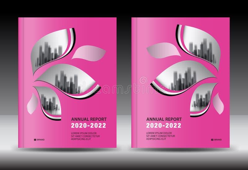 Plantilla de la cubierta rosada con el paisaje de la ciudad, diseño de la cubierta del informe anual, plantilla del aviador del f ilustración del vector