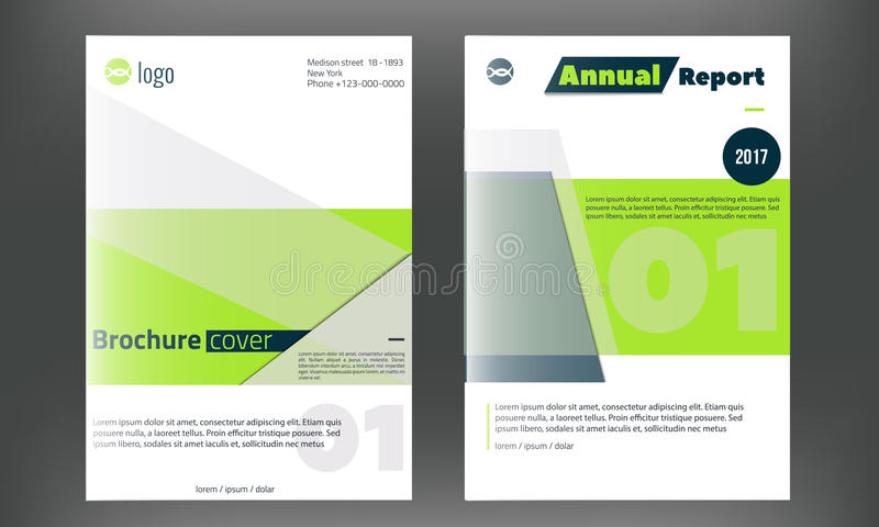 Plantilla de la cubierta verde del folleto del vector Diseño del informe anual del negocio, aviador limpio, identidad corporativa libre illustration