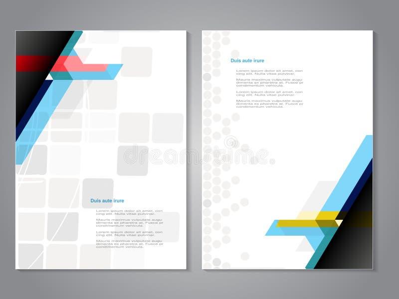 Plantilla de la cubierta y del folleto con el fondo de la geometría del color Concepto del negocio para la disposición, folleto,  libre illustration