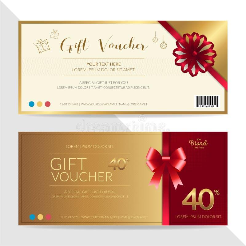 Plantilla de la cupón del chèque-cadeaux, del vale, del carte cadeaux o del efectivo adentro ilustración del vector
