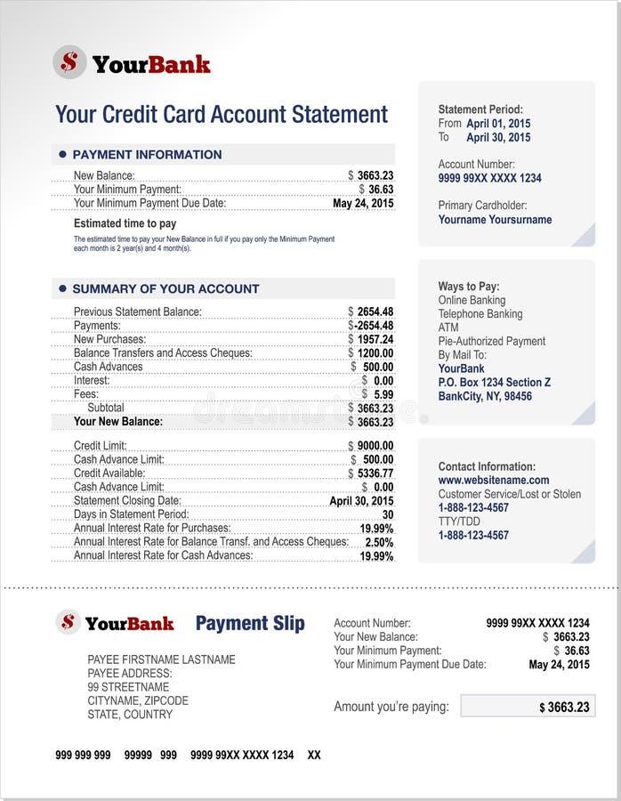 Plantilla de la declaración de la cuenta bancaria de la tarjeta de crédito stock de ilustración