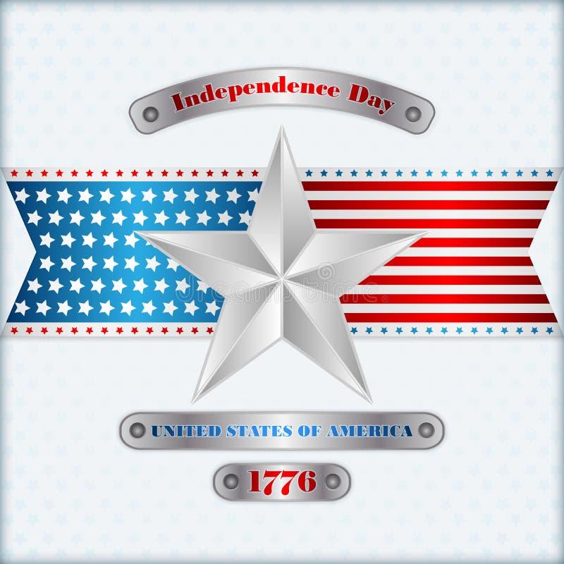 Plantilla de la disposición de los días de fiesta con el fondo de plata de los colores de estrella para cuarto de julio, Día de l stock de ilustración