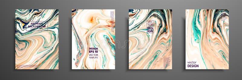 Plantilla de la disposición del aviador con la mezcla de pinturas acrílicas Textura de mármol líquida Arte flúido Aplicable para  stock de ilustración