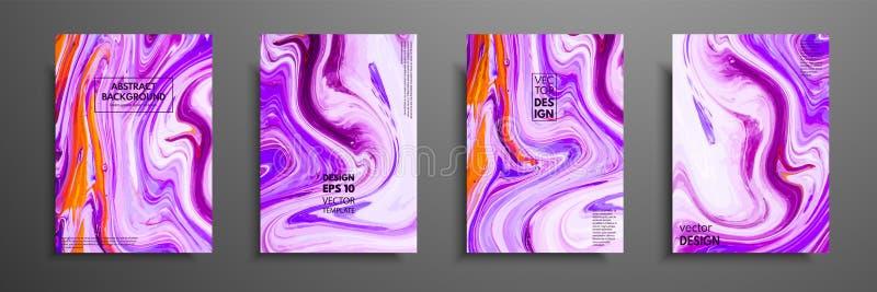 Plantilla de la disposición del aviador con la mezcla de pinturas acrílicas Textura de mármol líquida Arte flúido Aplicable para  libre illustration