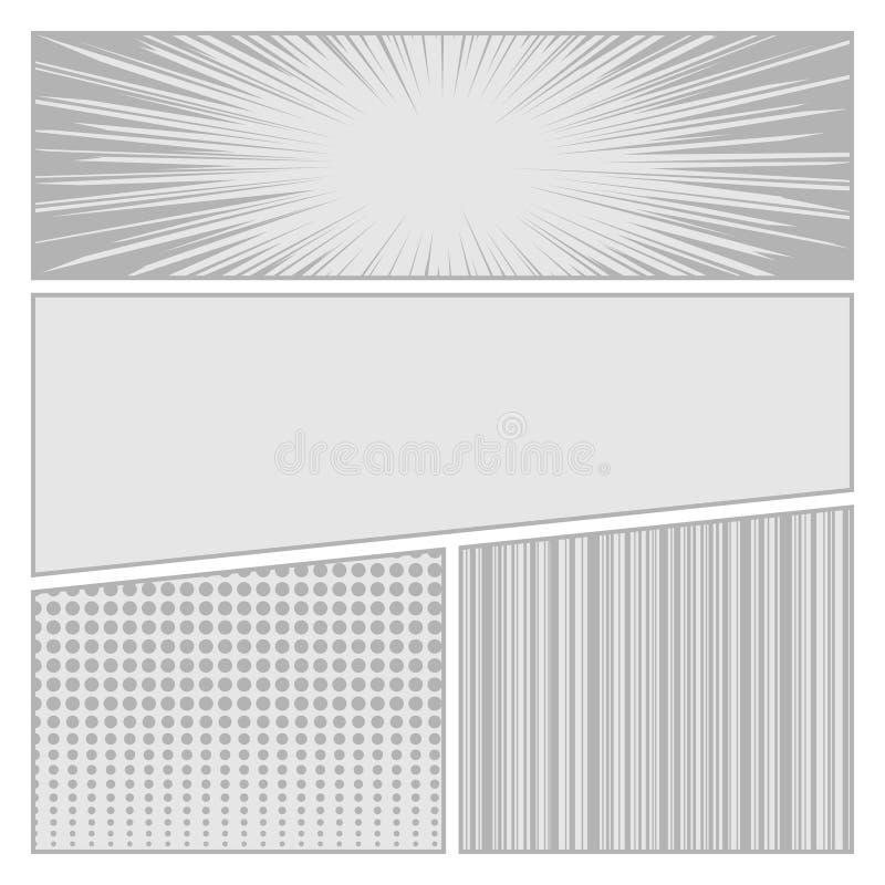 Plantilla de la disposición del espacio en blanco del estilo del arte pop de los tebeos con ilustración del vector