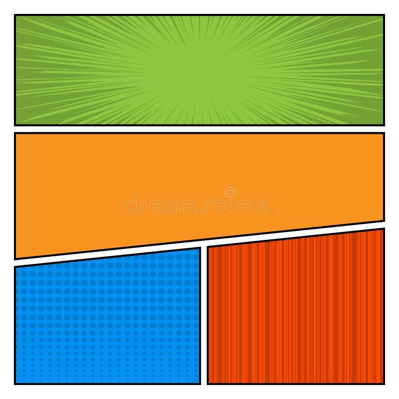 Plantilla de la disposición del espacio en blanco del estilo del arte pop del color de los tebeos ilustración del vector