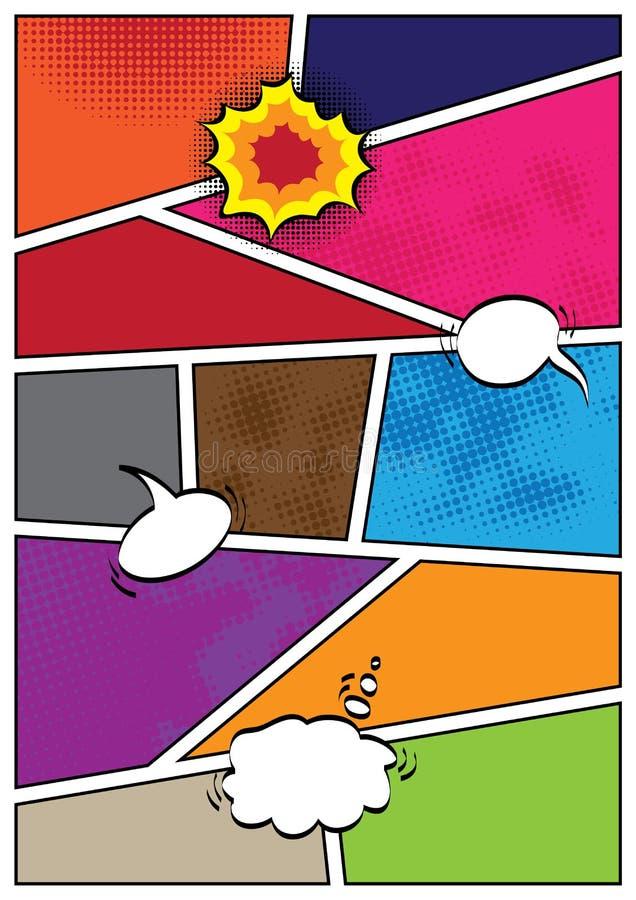 Plantilla de la disposición del espacio en blanco del estilo del popart de los tebeos ilustración del vector