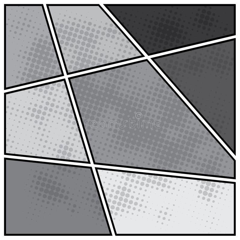 Plantilla de la disposición del espacio en blanco del estilo del popart de los tebeos stock de ilustración