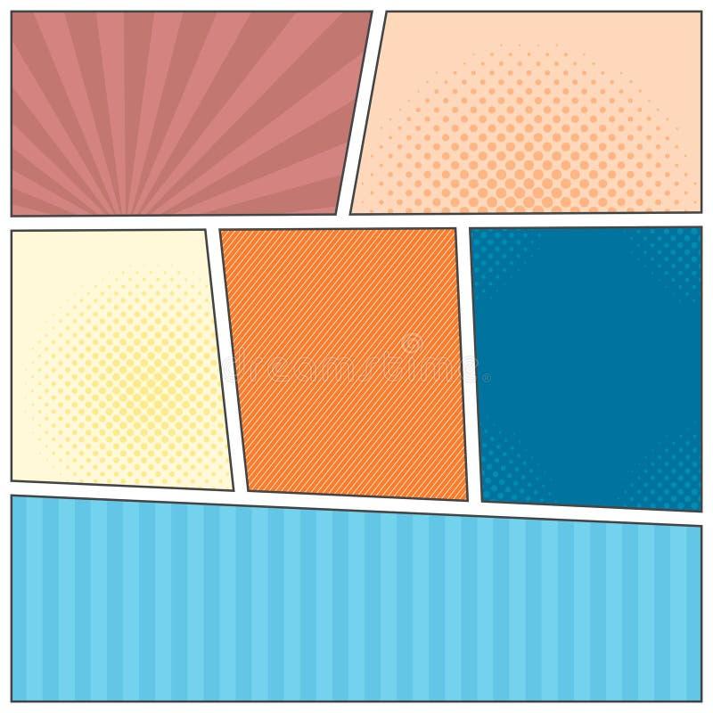 Plantilla de la disposición del popart de los tebeos ilustración del vector