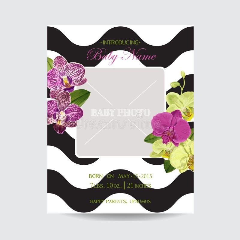 Plantilla de la disposición de la invitación de la boda con las flores de la orquídea Ahorre la tarjeta floral de la fecha con la ilustración del vector