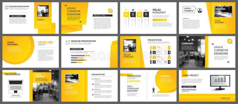Plantilla de la disposición de la presentación y de la diapositiva Pendiente amarilla y anaranjada del diseño en fondo de la form stock de ilustración