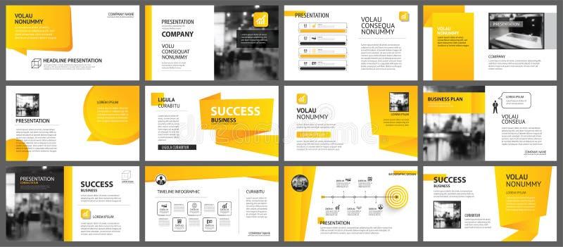 Plantilla de la disposición de la presentación y de la diapositiva Pendiente amarilla y anaranjada del diseño en fondo de la form ilustración del vector