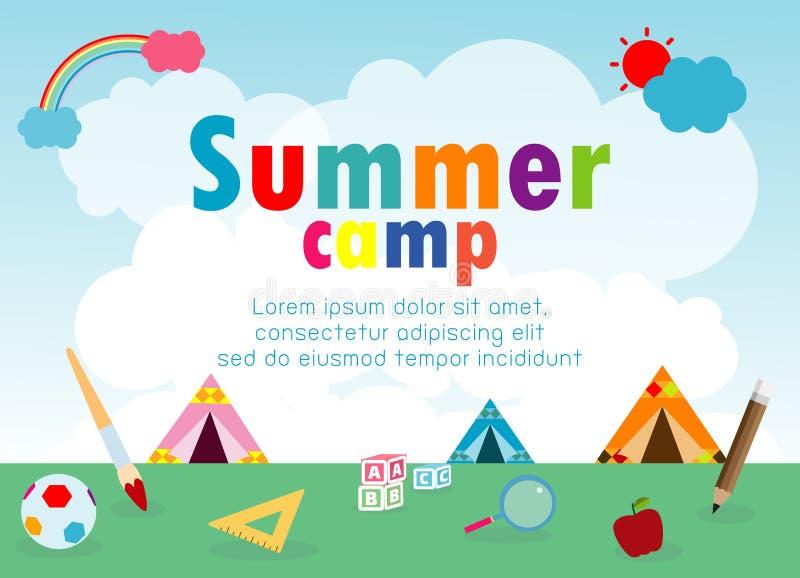 Plantilla de la educación del campamento de verano de los niños para el folleto de publicidad, niños que hacen actividades en aca libre illustration