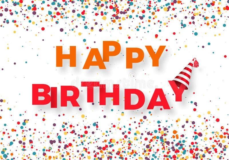 Plantilla de la enhorabuena del feliz cumpleaños Feliz cumpleaños del texto colorido con confeti del color que cae Ilustración de libre illustration