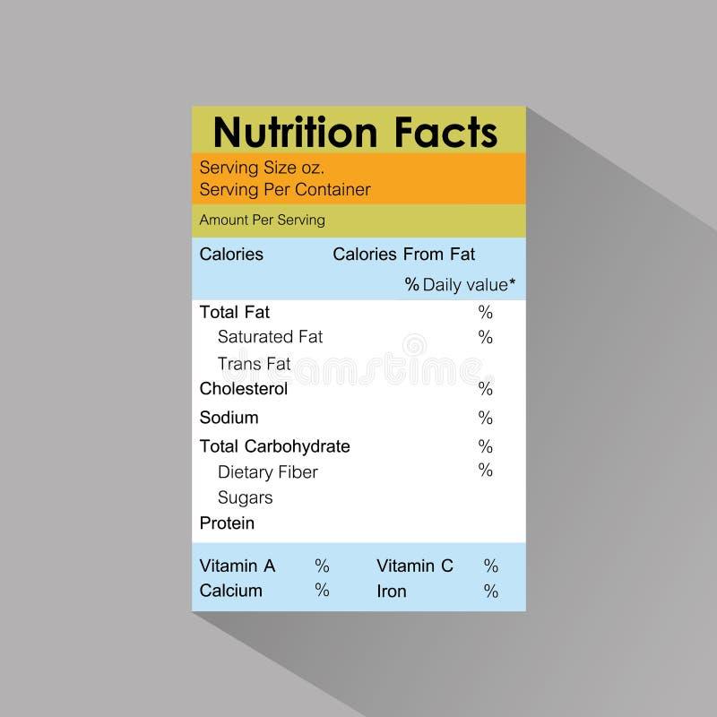 Plantilla de la etiqueta de la comida de los hechos de la nutrición con la sombra ilustración del vector