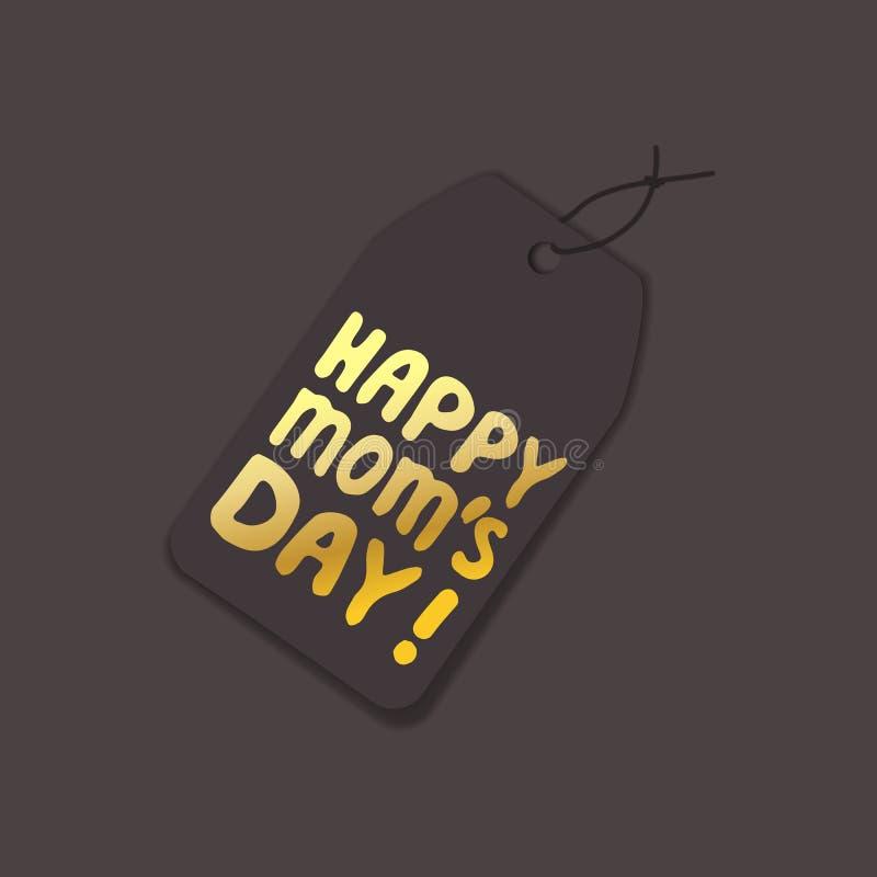 Plantilla de la etiqueta con la mano del d?a de madres que pone letras al texto D?a feliz de las mamas stock de ilustración