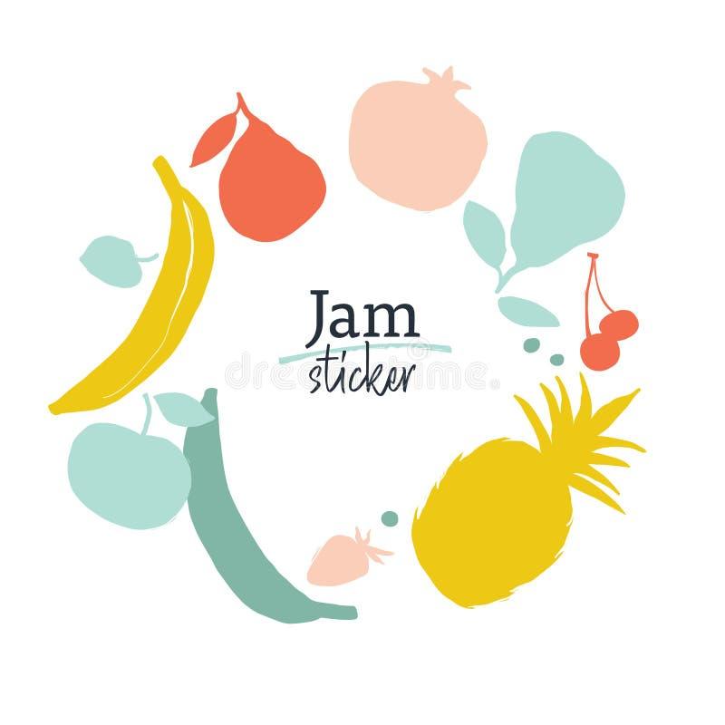 Plantilla de la etiqueta del atasco Siluetas de la fruta en sombras amarillo-rojo-azules stock de ilustración