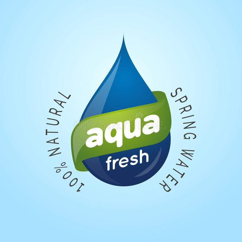 Plantilla de la etiqueta del diseño del logotipo del agua de manatial natural de la gotita de agua libre illustration