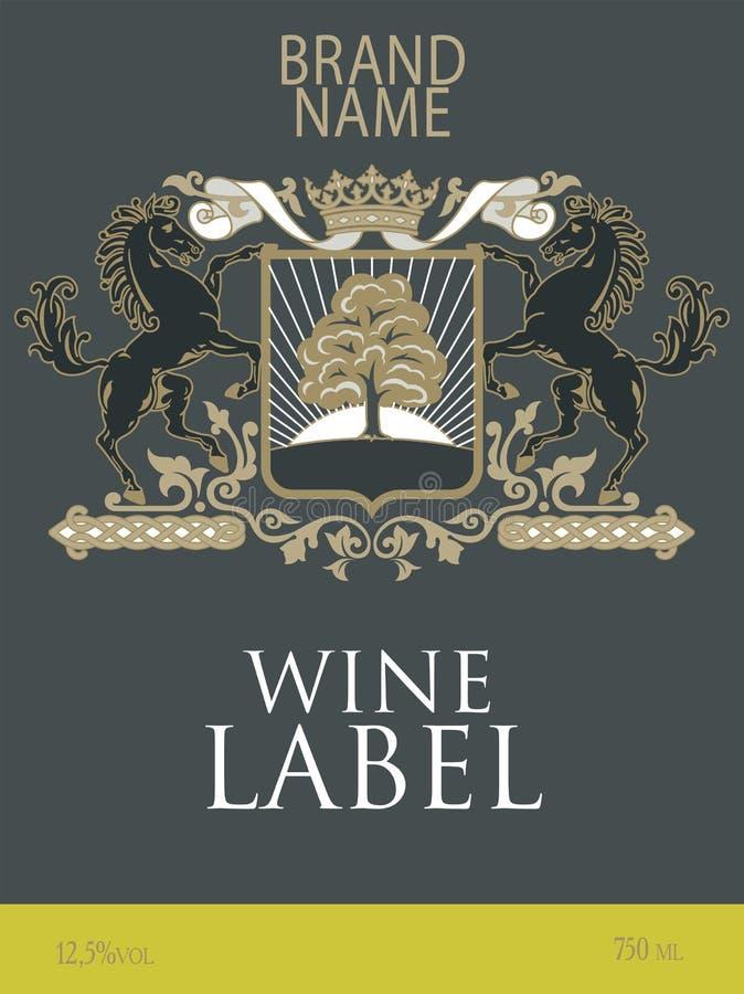 Plantilla de la etiqueta del vino con un escudo de armas con dos caballos alzados debajo de la corona real ilustración del vector