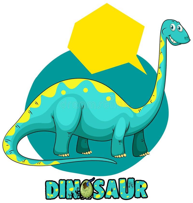 Plantilla de la etiqueta engomada con el brachiosaurus del dinosaurio ilustración del vector