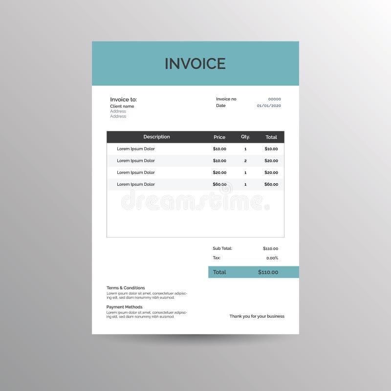 Plantilla de la factura del vector ilustración del vector