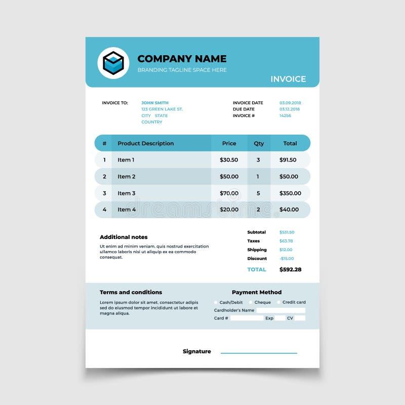 Plantilla de la factura Diseño de documento del vector de la contabilidad de la forma de Bill stock de ilustración