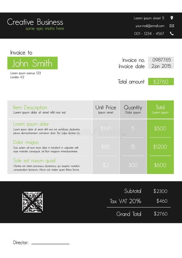 Plantilla de la factura - limpie el estilo moderno de verde y de gris stock de ilustración