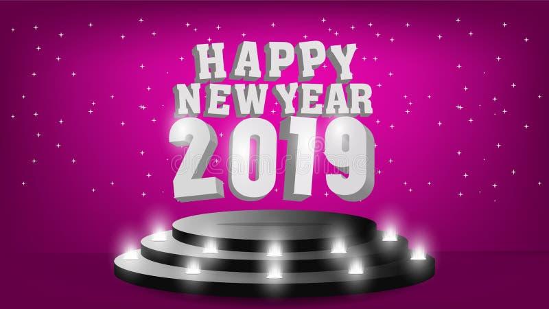 Plantilla de la Feliz Año Nuevo 2019 con el diseño creativo para su tarjeta de felicitaciones, invitación, carteles, folleto, ban ilustración del vector