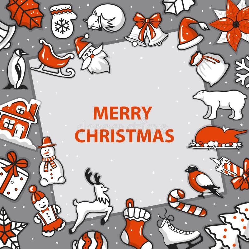 Plantilla de la Feliz Navidad y de la tarjeta de felicitación de la Feliz Año Nuevo ilustración del vector