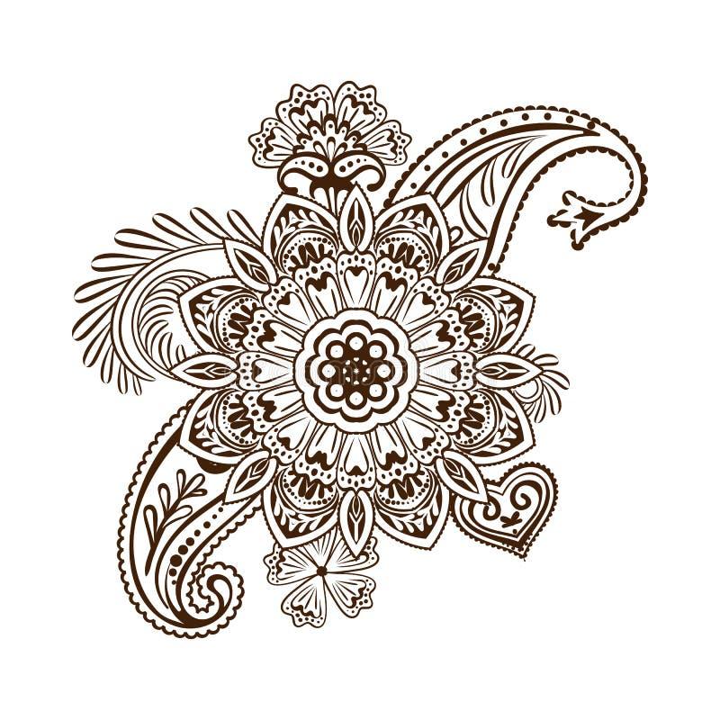 Plantilla de la flor del tatuaje de la alheña Estilo de Mehndi Sistema de modelos ornamentales en el estilo oriental libre illustration
