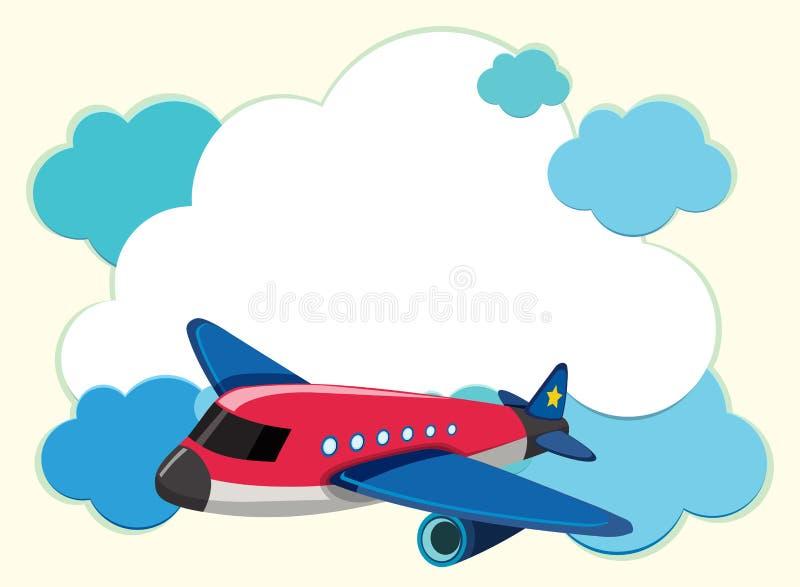 Plantilla de la frontera con el aeroplano rojo stock de ilustración