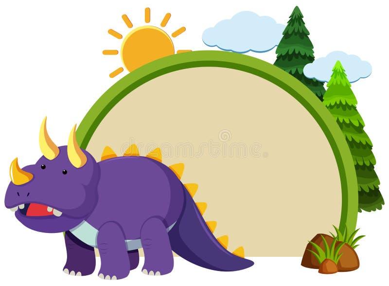 Plantilla de la frontera con el triceratops púrpura libre illustration