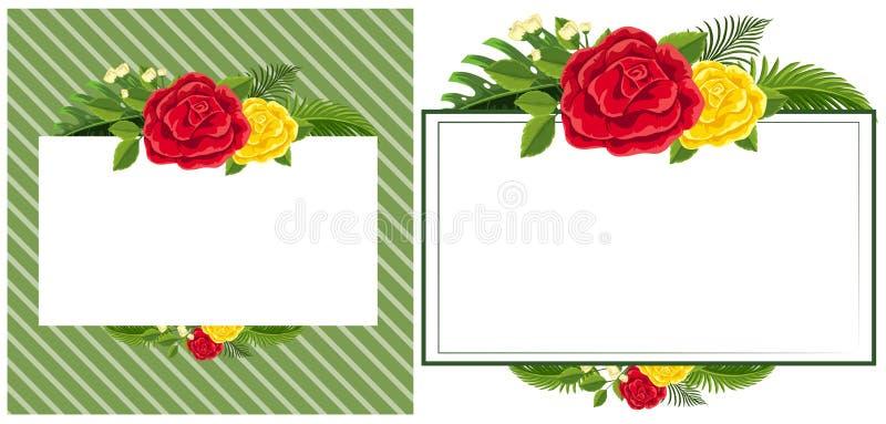 Plantilla de la frontera con las rosas rojas y amarillas ilustración del vector