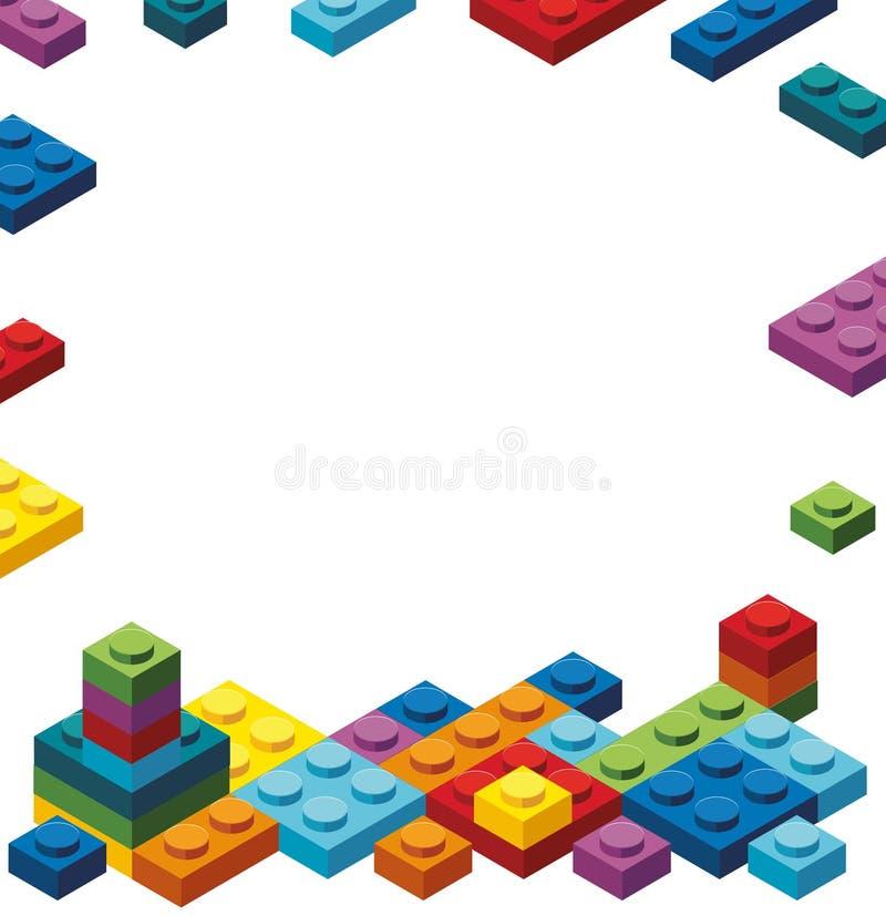 Plantilla de la frontera con los bloques coloridos del juguete stock de ilustración