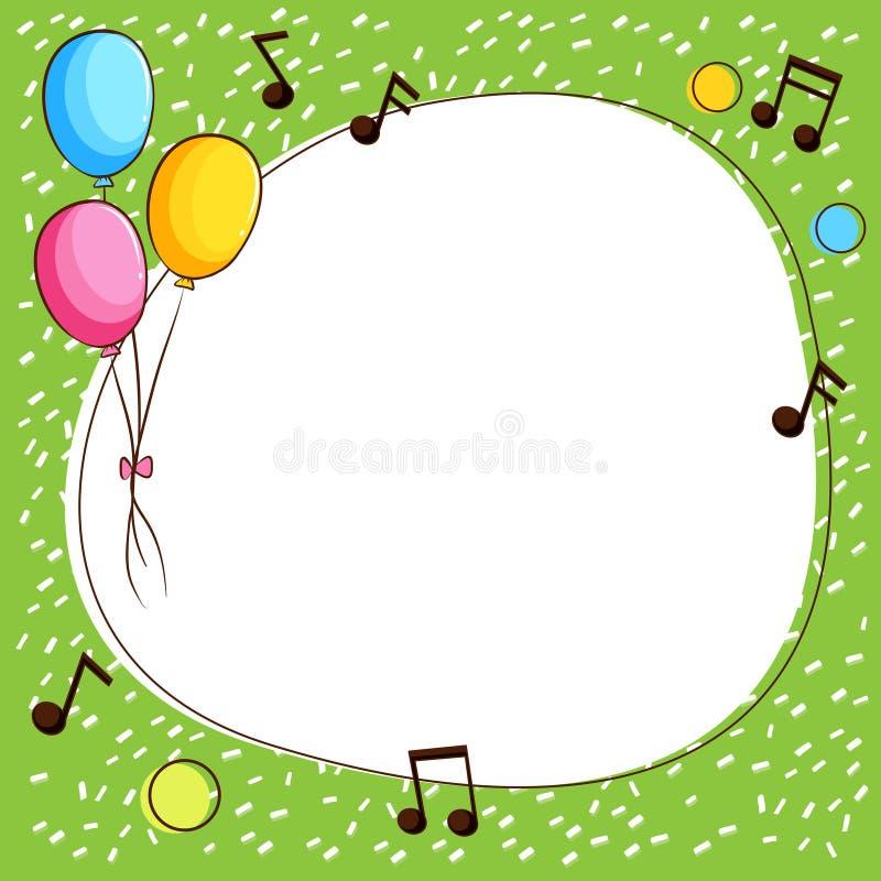 Plantilla de la frontera con los globos y las notas de la música ilustración del vector
