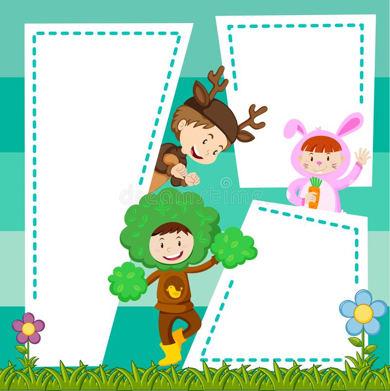 Plantilla de la frontera con los niños en traje stock de ilustración