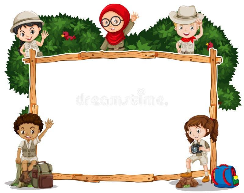 Plantilla de la frontera con los niños en traje del safari ilustración del vector