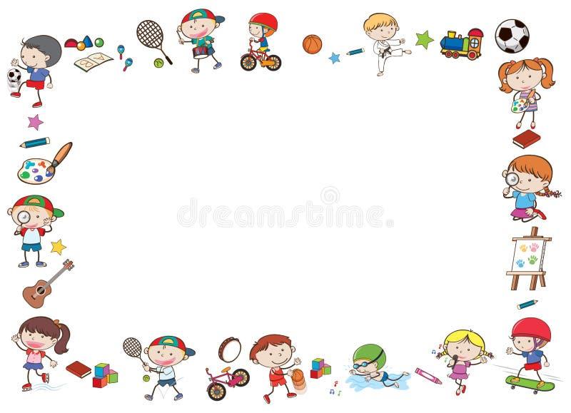 Plantilla de la frontera con los niños que juegan deportes libre illustration