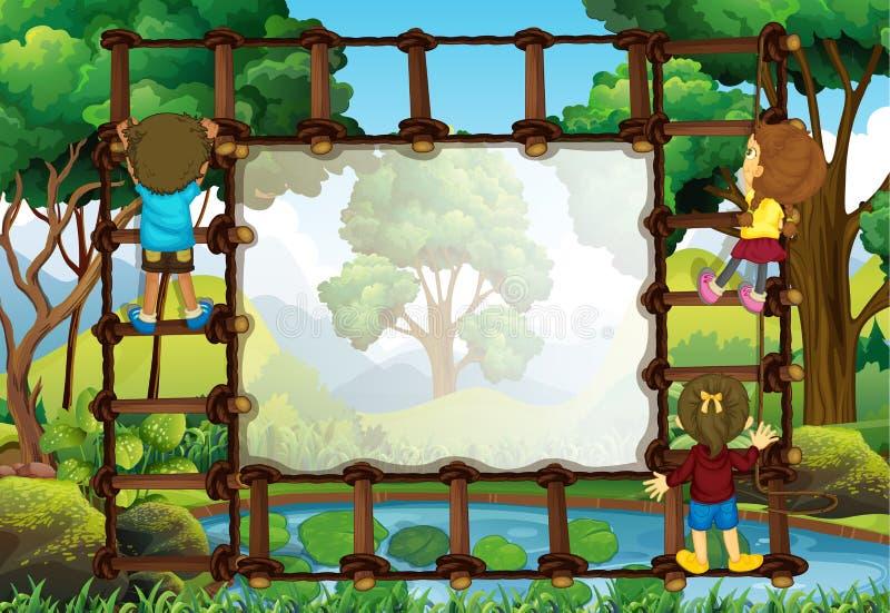 Plantilla de la frontera con los niños que suben la escalera libre illustration