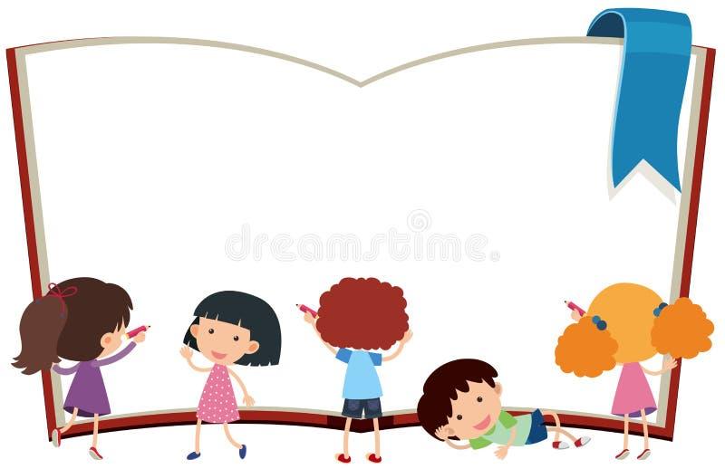 Plantilla de la frontera con los niños y el libro ilustración del vector
