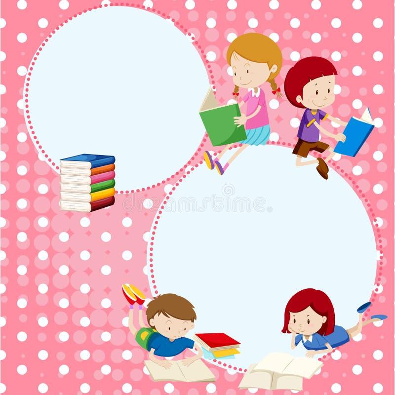 Plantilla de la frontera con muchos libros de lectura de los niños stock de ilustración