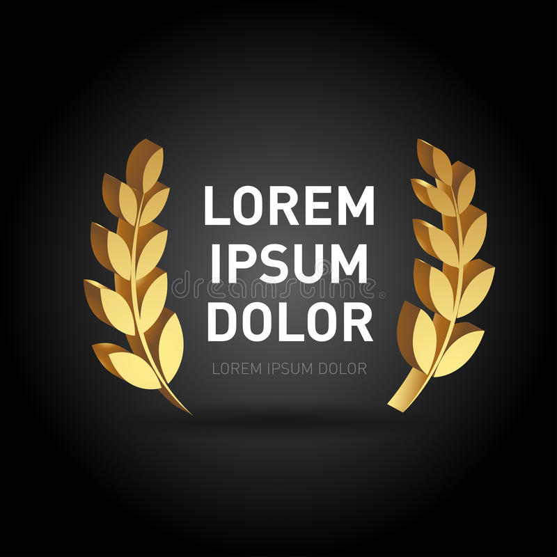 plantilla de la guirnalda del laurel del premio del oro de la dimensión 3d en fondo negro Ilustración aislada libre illustration