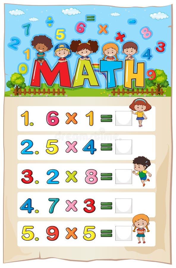 Plantilla De La Hoja De Trabajo De La Matemáticas Con Los Niños Y ...