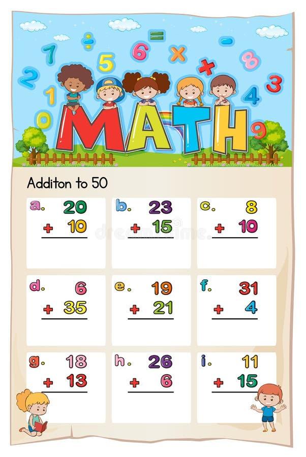 Plantilla de la hoja de trabajo de la matemáticas para la adición a cincuenta libre illustration