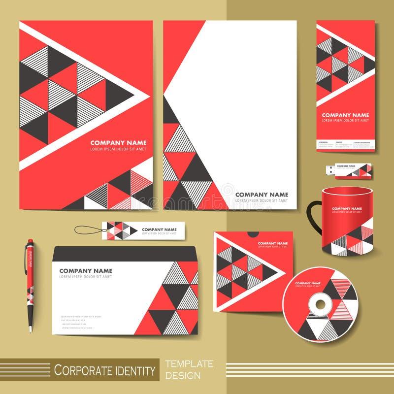 Plantilla de la identidad corporativa con el elemento rojo y negro del triángulo stock de ilustración