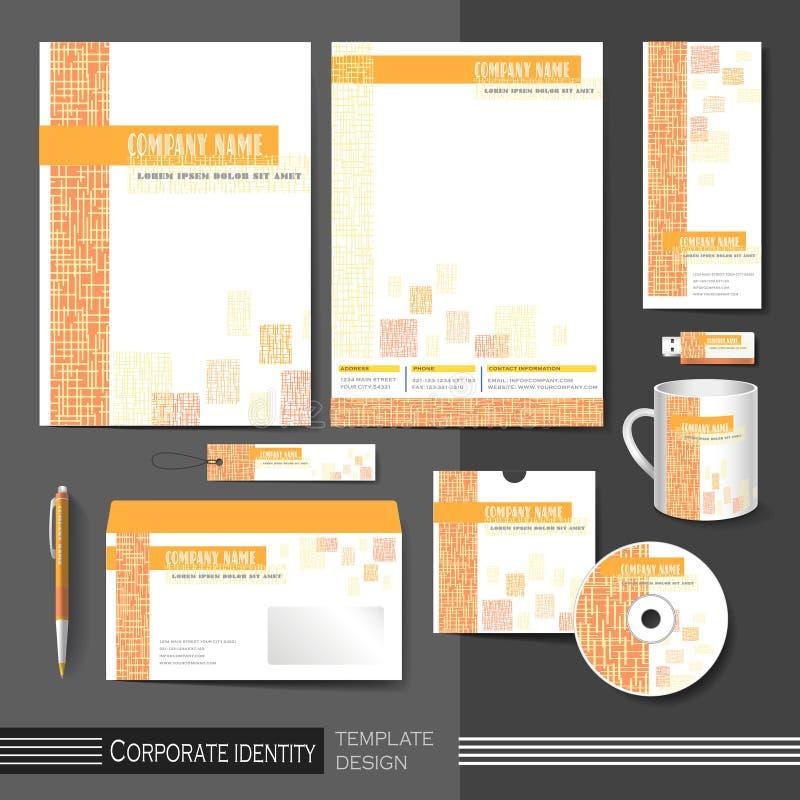 Plantilla de la identidad corporativa con los elementos anaranjados de la malla ilustración del vector