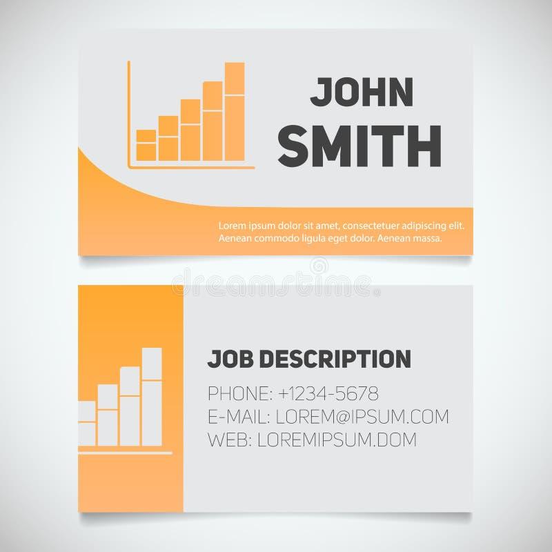 Plantilla de la impresión de la tarjeta de visita con el logotipo de la carta de crecimiento de la renta libre illustration