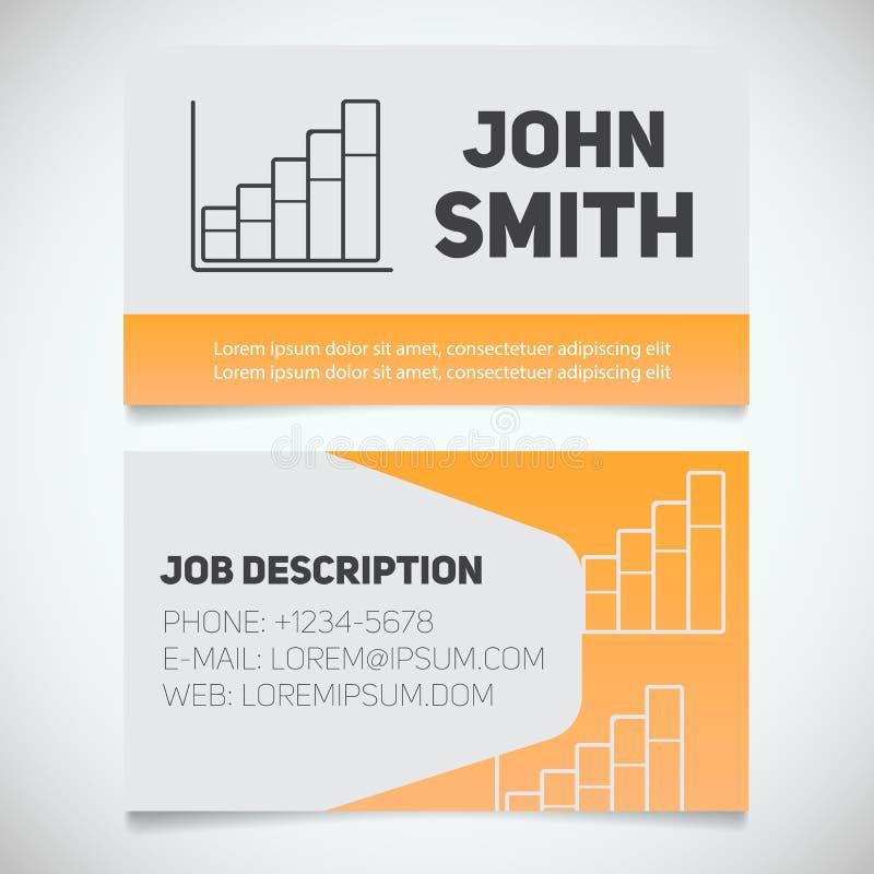 Plantilla de la impresión de la tarjeta de visita con el logotipo de la carta de crecimiento de la renta stock de ilustración
