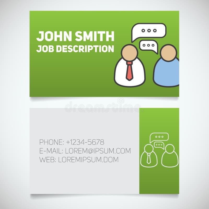 Plantilla de la impresión de la tarjeta de visita con el logotipo de la entrevista libre illustration